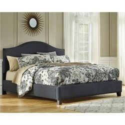 Kasidon Fabric Upholstered Arched Bed in Gray