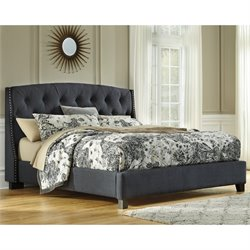 Kasidon Tufted Fabric Upholstered Bed in Gray