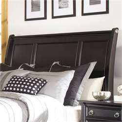 Greensburg Wood Sleigh Headboard in Black