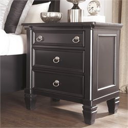 Ashley Greensburg 3 Drawer Wood Nightstand in Black