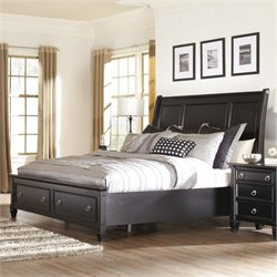 Greensburg Wood Sleigh Drawer Bed in Black