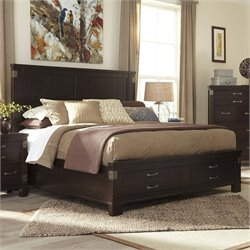 Haddigan Wood Panel Drawer Bed in Dark Brown