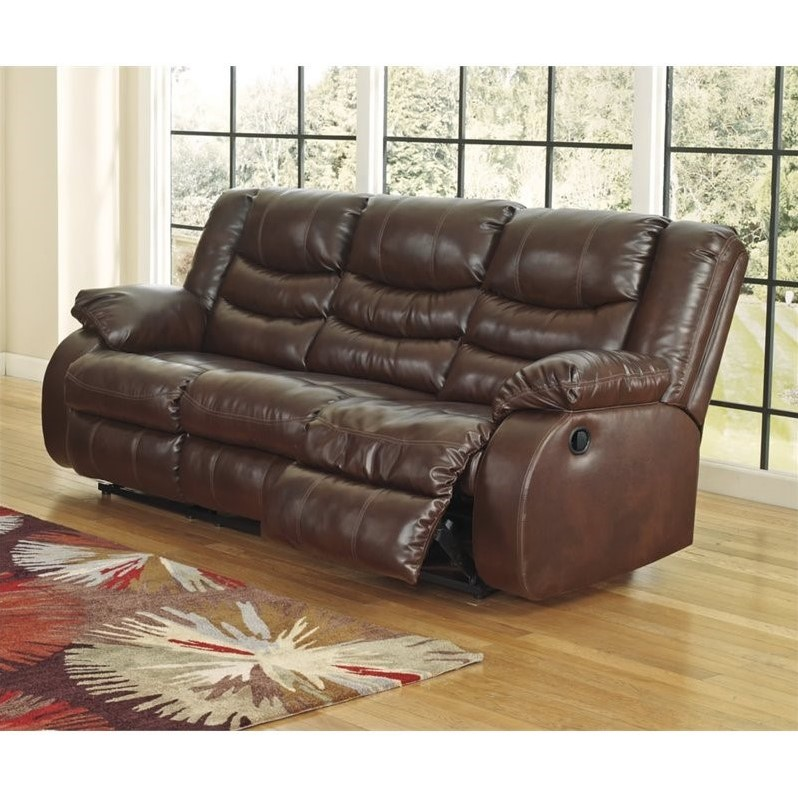 Ashley Leather Sofa: Ashley Linebacker Leather Reclining Sofa In Espresso