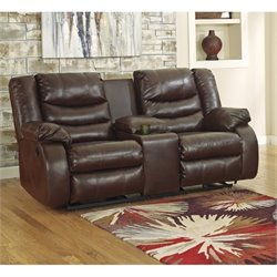Ashley Linebacker Leather Reclining Console Loveseat in Espresso