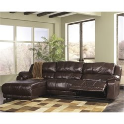 Braxton 3 Piece Chaise Double Reclining Sectional in Java