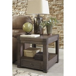 Ashley Burladen Rectangular End Table in Grayish Brown