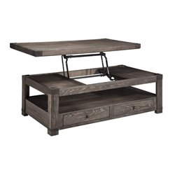 Ashley Burladen Rectangular Lift Top Coffee Table in Grayish Brown