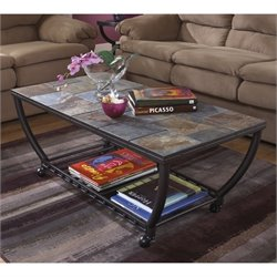 Ashley Antigo Slate Tile Rectangular Coffee Table and Casters in Black