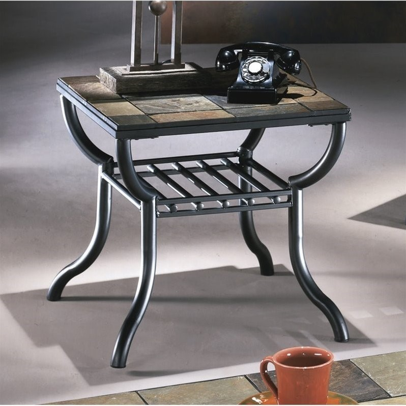 Ashley Antigo Slate Tile Square End Table In Black T233 2