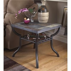 Ashley Antigo Slate Tile Square End Table in Black