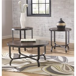 Ashley Ferlin 3 Piece Round Coffee Table Set in Dark Brown