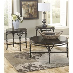 Ashley Brindleton 3 Piece Round Coffee Table Set in Brown