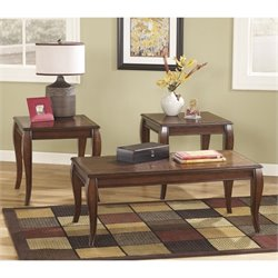 Ashley Mattie 3 Piece Coffee Table Set in Reddish Brown