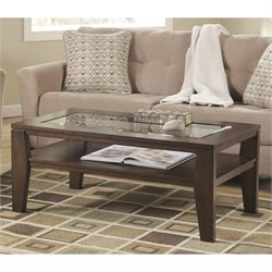 Ashley Deagan Rectangular Coffee Table in Dark Brown
