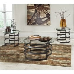 Ashley Kaymine 3 Piece Round Glass Coffee Table Set in Black