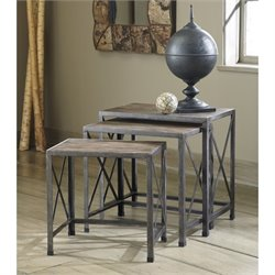 Ashley Vennilux 3 Piece Nesting Tables in Gray and Brown