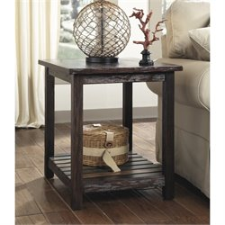 Ashley Mestler Rectangular End Table in Rustic Brown
