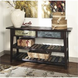 Ashley Mestler Sofa Table in Rustic Brown