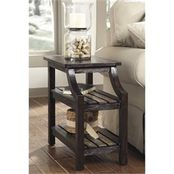 Ashley Mestler Chair Side End Table in Rustic Brown