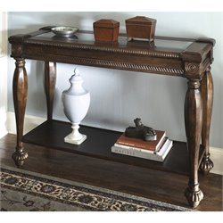 Ashley Mantera Sofa Table with Glass Insert in Dark Rustic Brown