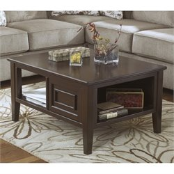 Ashley Larimer Rectangular Coffee Table with Storage in Dark Brown