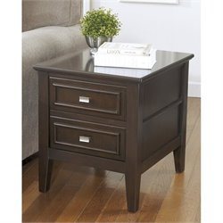 Ashley Larimer Rectangular End Table in Dark Brown
