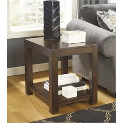 Ashley Grinlyn Rectangular End Table in Rustic Brown