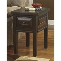 Ashley Hindell Park Chair Side End Table in Rustic Brown