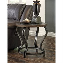 Ashley Volanta Round End Table with Metal Inset in Caramel