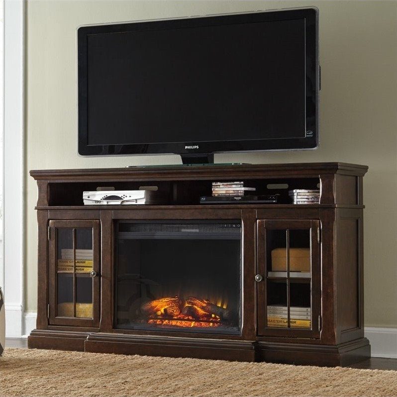 Ashley Roddinton 74 Quot Tv Stand With Wide Led Fireplace In