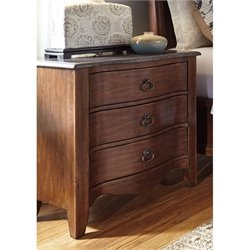 Ashley Balinder Three Drawer Night Stand in Medium Brown