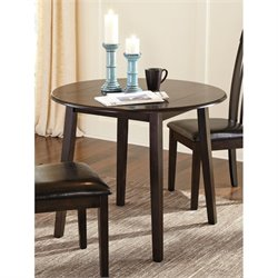 Ashley Hammis Round Drop Leaf Dining Table in Dark Brown