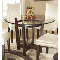 Ashley Charrell Glass Round Dining Table in Medium Brown