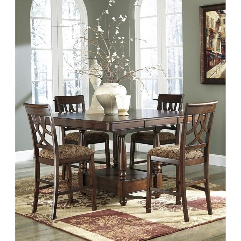 Ashley Leahlyn 5 Piece Counter Height Extendable Dining