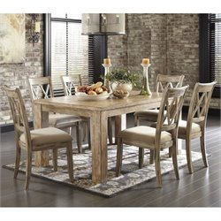 Mestler 7 Piece Dining Set in Bisque