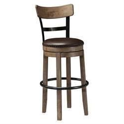 Pinnadel Faux Leather Swivel Stool in Brown