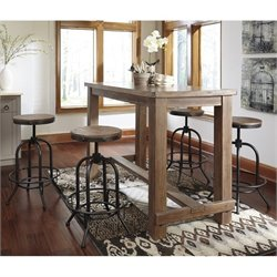 Pinnadel 5 Piece Dining Set with Adjustable Swivel Stool in Light Brown