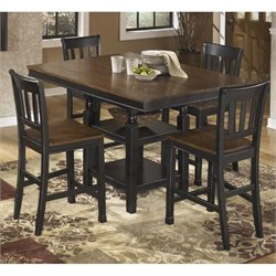 Ashley Owingsville Counter Height Dining Set in Brown