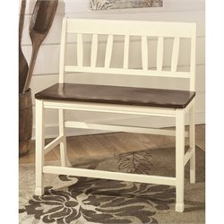 Ashley Whitesburg Counter Height Dining Bench in Brown and White