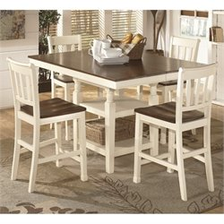 Ashley Whitesburg Counter Height Dining Set in Brown and White