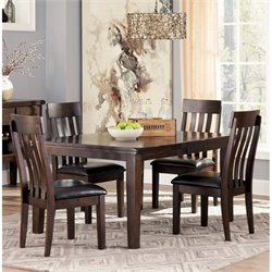 Ashley Haddigan Dining Set in Dark Brown
