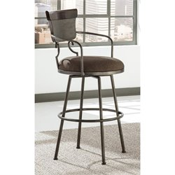 Moriann Upholstered Swivel Metal Stool in Brown