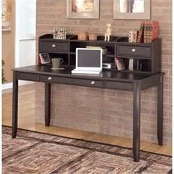 Ashley Carlyle Home Office Large Desk with Short Hutch in Almost Black