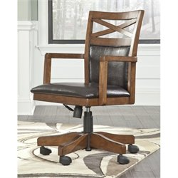 Ashley Burkesville Faux Leather Adjustable Home Office Swivel Chair