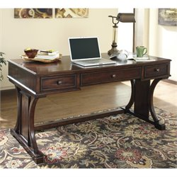 Ashley Devrik Home Office Computer Desk in Brown