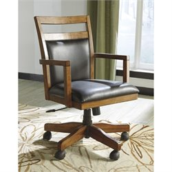 Ashley Lobink Faux Leather Adjustable Swivel Office Chair in Brown