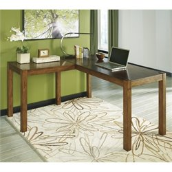 Ashley Lobink L-Shape Computer Desk in Brown