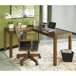 Ashley Lobink L-Shape Computer Desk with Chair in Brown