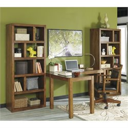 Ashley Lobink L-Shape Computer Desk with Chair and Bookcases in Brown