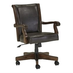 Ashley Alymere Faux Leather Adjustable Swivel Office Chair in Brown
